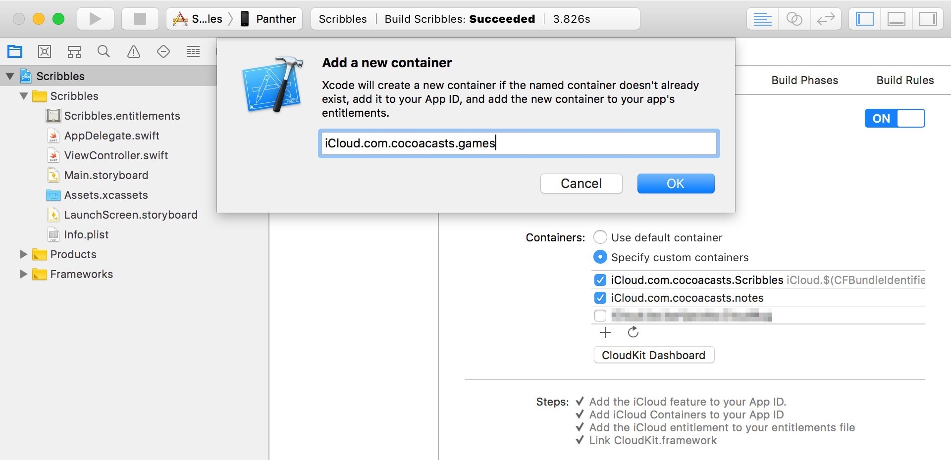 Creating a Custom iCloud Container