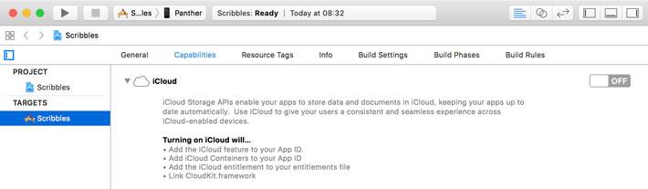 Enabling iCloud