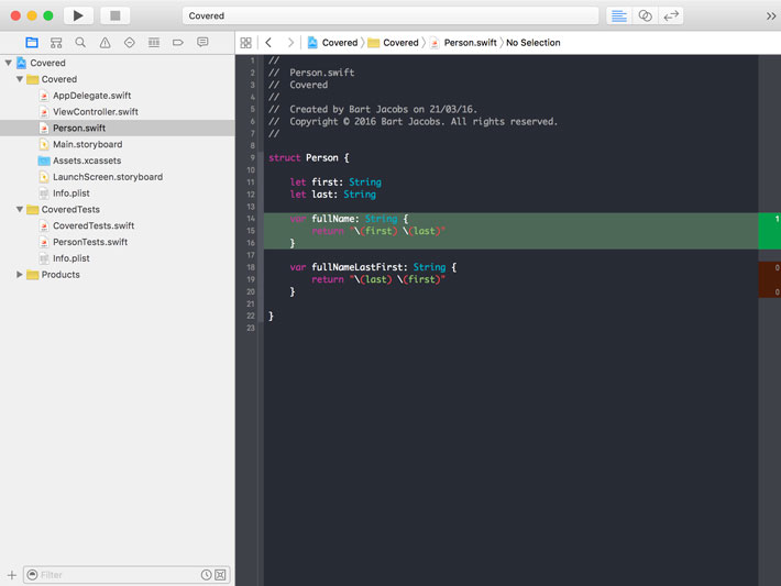 Code Coverage in Source Editor