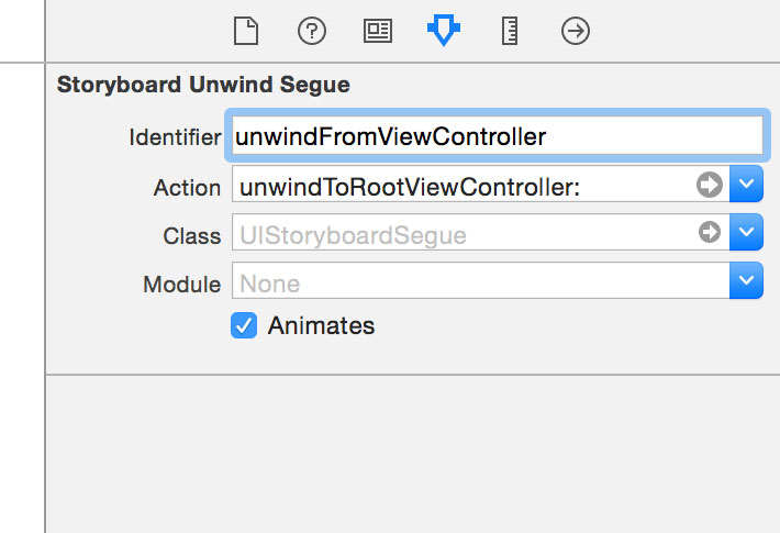 Configuring an Unwind Segue in Interface Builder