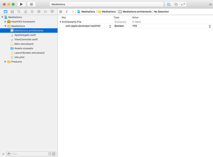 Xcode configures the project for HealthKit.