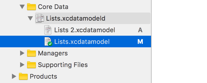 Migrating a Data Model With Core Data | Inspecting the List of Data Model Versions