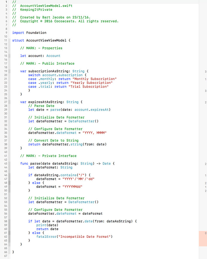 Xcode visualizes code coverage of an entity in the gutter on the right of the source editor.